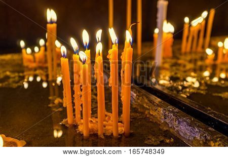 To light the candles during the prayer is the old Christian tradition Yerevan Armenia.