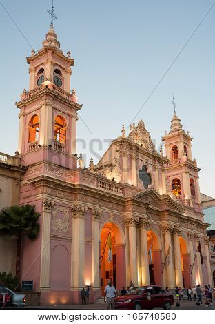Salta Argentina - 31 october 2016: Cathedral and people at sunset in Salta(Argentina)