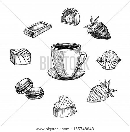 Hand Drawn Vector Illustration - Cup Of Coffee With Candies And Sweets. Perfect For Menu, Greeting C