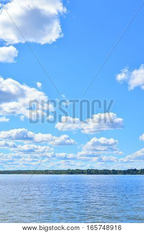 Siverskoe lake at sunny summer day Vologda region Russia.
