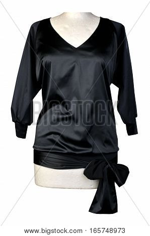black satin blouse dressed on a mannequin isolated on white background