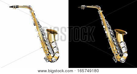 Gold classical saxophone with silver buttons. Isolated object presented on two backgrounds black and white.