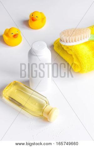 baby organic cosmetic for bath on white bakground close up