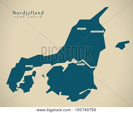 Modern Map - Nordjylland Denmark Dk Illustration