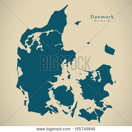 Modern Map - Denmark Country Silhouette Dk Illustration