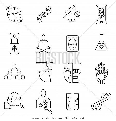 Set of thin line vector icons on the subject of life extension technologies in the future.