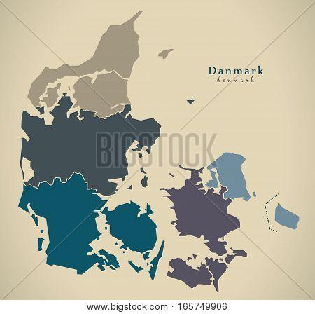 Modern Map - Denmark With Regions Dk Illustration