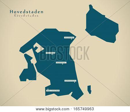 Modern Map - Hovedstaden Denmark Dk Illustration