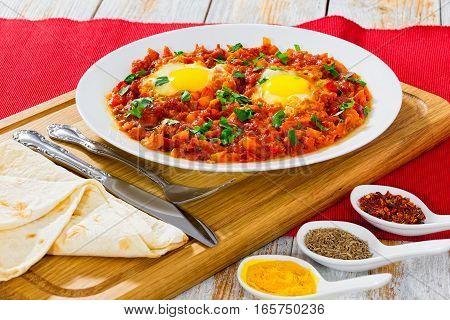Shakshuka - Sunny-side-up Eggs,bell Pepper, Chili, Tomato Sauce