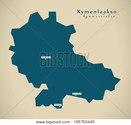 Modern Map - Kymenlaakso Finland Fi Illustration