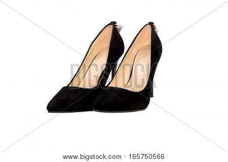 Pair of female shoes on heeled. isolated on white.