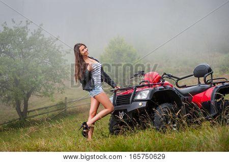 Beautiful Girl Standing Near Four-wheeler Atv