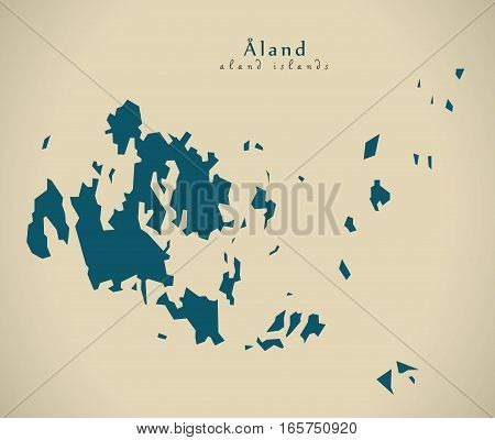 Modern Map - Aland Islands Finland Fi Illustration