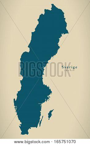 Modern Map - Sweden Country Silhouette Se Illustration