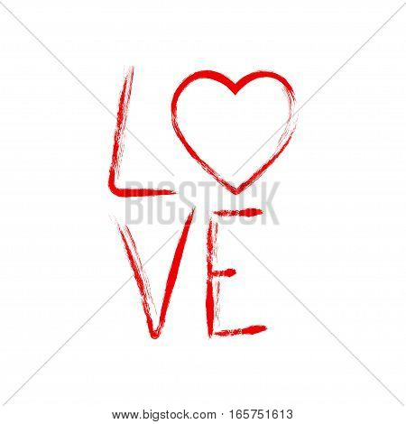 Vector brush calligraphy Love. Hand drawn lettering for Valentine's Day design. Isolated on white background.