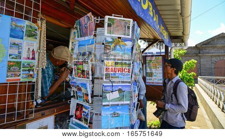 Selling Postcards At The Store In Mauritius