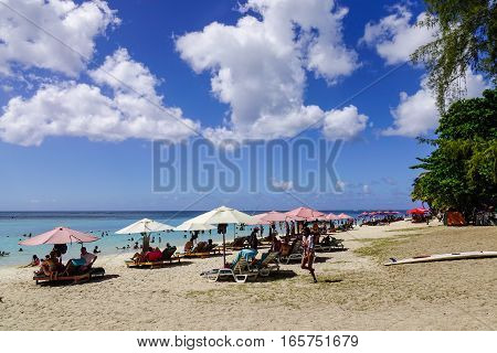 Beautiful Beach At Sunny Day In Mauritius