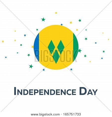 Independence Day Of Saint Vincent And The Grenadines. Patriotic Banner.