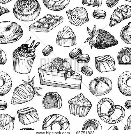 Hand Drawn Vector Seamless Pattern - Collection Of Goodies, Sweets, Cakes And Pastries. Background I
