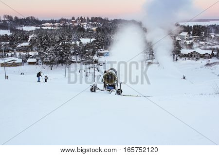 Toksovo, Russia - 6 January, Snow cannons on a ski slope, 6 January, 2017. Winter resort suburb of St. Petersburg.