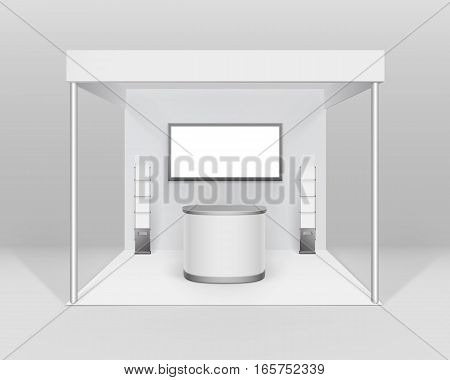 Vector White Blank Indoor Trade exhibition Booth Standard Stand for Presentation with Counter Screen Booklet Brochure Holder Isolated on Background