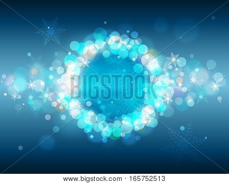 Blue shiny defocused bokeh winter background with place for text vector