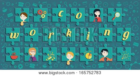 Flat design vector illustration of jigsaw puzzle with portrait of office workers and business icons