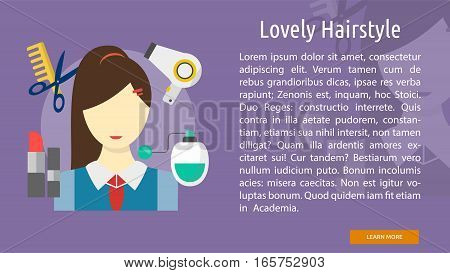 Lovely Hairstyle Conceptual Banner Great flat illustration concept icon and use for healthy, beauty, fashion and much more.