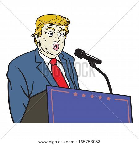 Donald Trump Inauguration Speech Vector Portrait Illustration. January 19, 2017