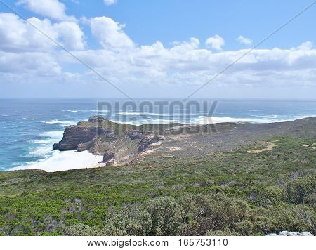 View of the Cape of Good Hope and Diaz beach from the Cape Point Lighthouse.