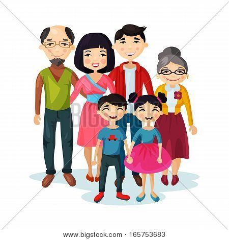 Cartoon picture of family with children or kids. Father and mother, grandmother and grandfather, sister and brother, woman and man couple with daughter and son. Parenting and portrait picture theme