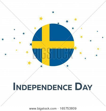 Independence Day Of Sweden. Patriotic Banner. Vector Illustration.