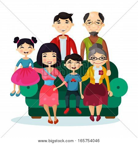 Fun cartoon happy family sitting on couch or sofa portrait. Picture of children and parents, relatives with children, father and mother, sister and brother, grandfather and grandmother together.