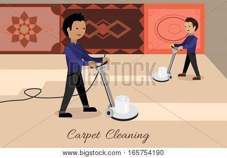 Carpet cleaning conceptual vector. Flat design. Male cleaners working with surface washing machines, carpets with ornaments on the wall. Illustration for cleaning companies and services advertising
