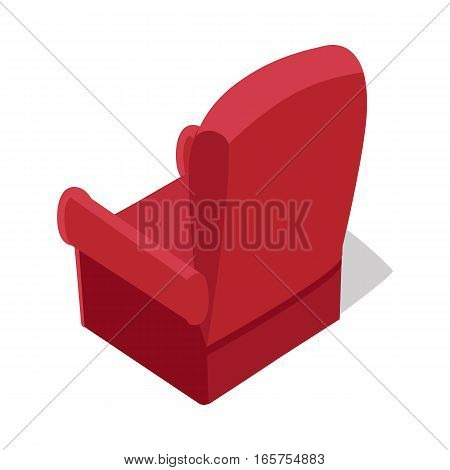 Isometric red home armchair with shadow in flat. Armchair icon. Chair icon. Living room furniture. Furniture element for home interior. Isolated object on white background. Vector illustration.