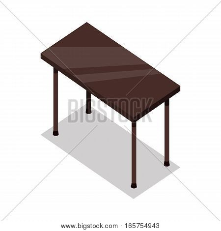 Isometric wooden table with shadow in flat. Illustration of a classical brown wooden table with legs. Empty wooden deck table. Table icon. Isolated vector illustration on white background.