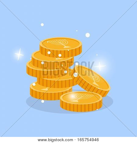 Golden chink in stack with menorah candles vector element