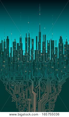 City online. Abstract futuristic digital city, hi-tech information background technology concept