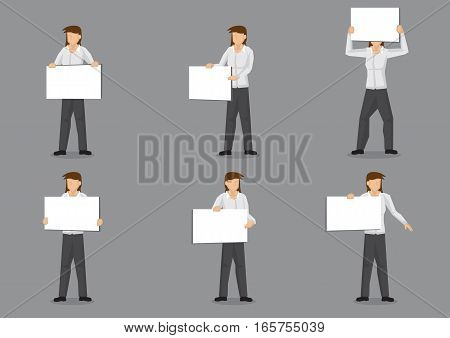 Set of six vector clip art of cartoon female character in white long sleeve dress shirt and black trousers holding blank placards with copy space isolated on grey background.