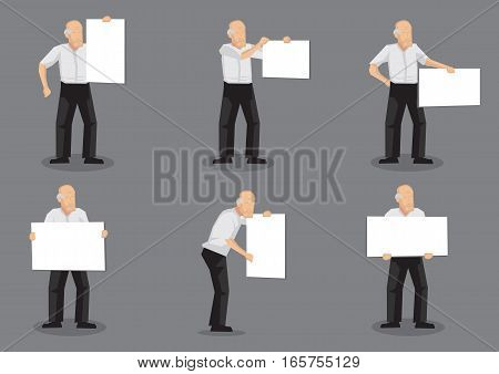 Set of six vector illustrations of old man character holding a blank placard with copy space isolated on grey background.