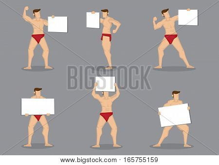 Set of six vector cartoon illustration of male body builder character in hot red briefs holding blank placard sign isolated on grey background.