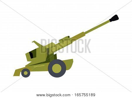 Howitzer vector icon. Long-range cannon in camouflage color vector illustration isolated on white background. Army artillery system. For military concepts, infographics, icons, web design