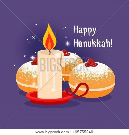 Happy hanukkah vector illustration with candle and jewish baking
