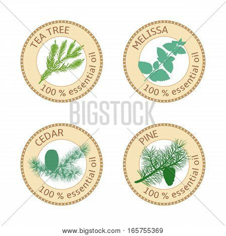 Set of 100 percent essential oils labels. Pine tree, Cedar, Tea tree, melissa symbols. Logo collection. Vector illustration. Brown stamps. For stickers, price tags, labels, advertising banner poster
