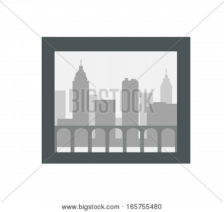 City silhouette in the dark frame isolated on white. Urban city landscape with towers, fence and skyscrapers isolated in black photo frame. Modern buildings. Illustration in flat style. Vector design