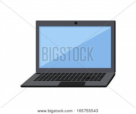 Gray laptop flat icon. Laptop flat icon with blank blue screen. Laptop in front. Concept of IT communication, e-learning, internet network. Isolated object on white background. Vector illustration.
