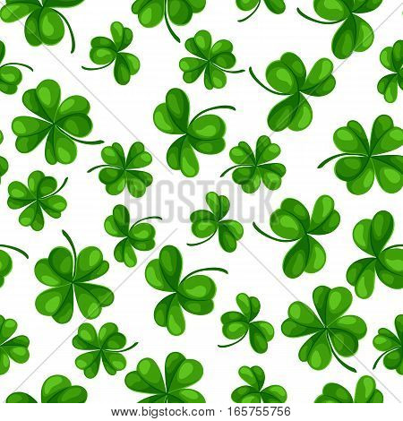 Saint Patricks Day seamless pattern. Green clover shamrock and the four-leaf.