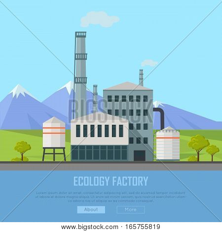 Ecology factory banner. Gray factory building with pipes on nature mountain landscape. Industrial plant with pipes in flat. Plant with smoking chimneys. Ecological production concept. Website template