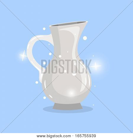 White cartoon carafe vector object with shining elements on blue background