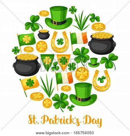 Saint Patricks Day greeting card. Flag Ireland, pot of gold coins, shamrocks, green hat and horseshoe.
